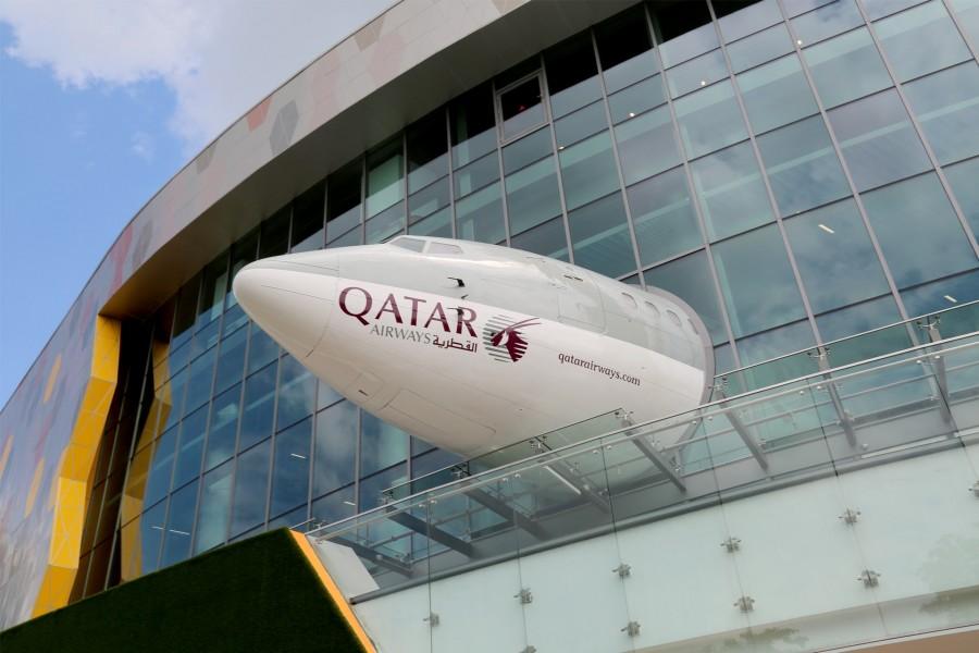 The landing of a B737 Qatar Aircraft at KidZania in Singapore