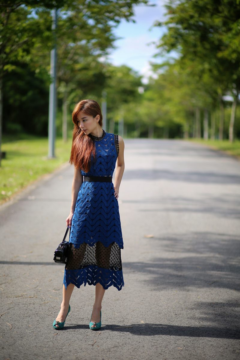 Self Portrait Scalloped Mixed-Lace Teal Dress